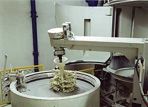 The coating a ceramic shell with the robot Shell-O-Matic